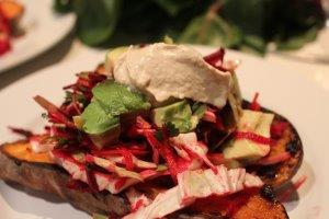Baked Sweet Potato With Winter Slaw and Hummous