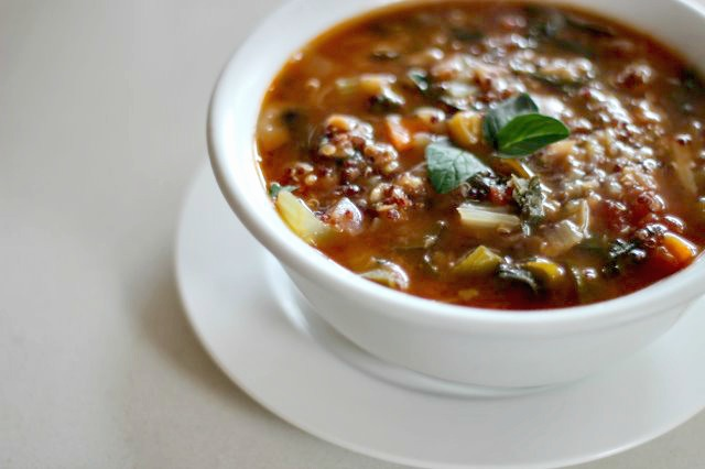 Minestrone Soup With Quinoa And Lentils